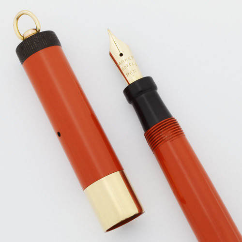 Parker Lady Duofold Deluxe Fountain Pen - Red, GF Wide Band, Ring Top, Fine Nib (Excellent, Restored)