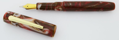 PSPW Prototype Fountain Pen - Brown, White and Red Swirls with Clip, #6 JoWo Nibs (New)