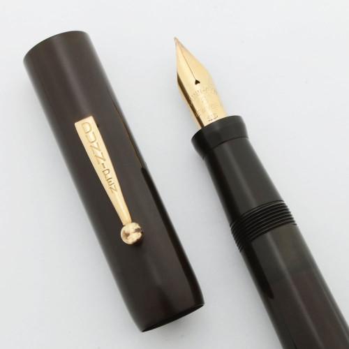 Dunn Fountain Pen (1921-7) -- Oversize BHR, Red Casein Pump Handle, Flexible Fine Dunn-Pen #6 Nib (Excellent, Restored)