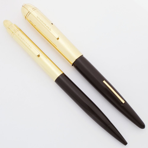 Eversharp Skyline Fountain Pen Set (Uncommon) - Army Brown, Solid 14k Caps, 14k Fine Nib (Excellent +, Restored)