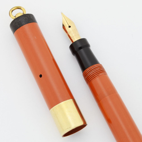 Parker Lady Duofold Deluxe Fountain Pen - Red, GF Wide Band, Ring Top, Medium Nib (Excellent, Restored)