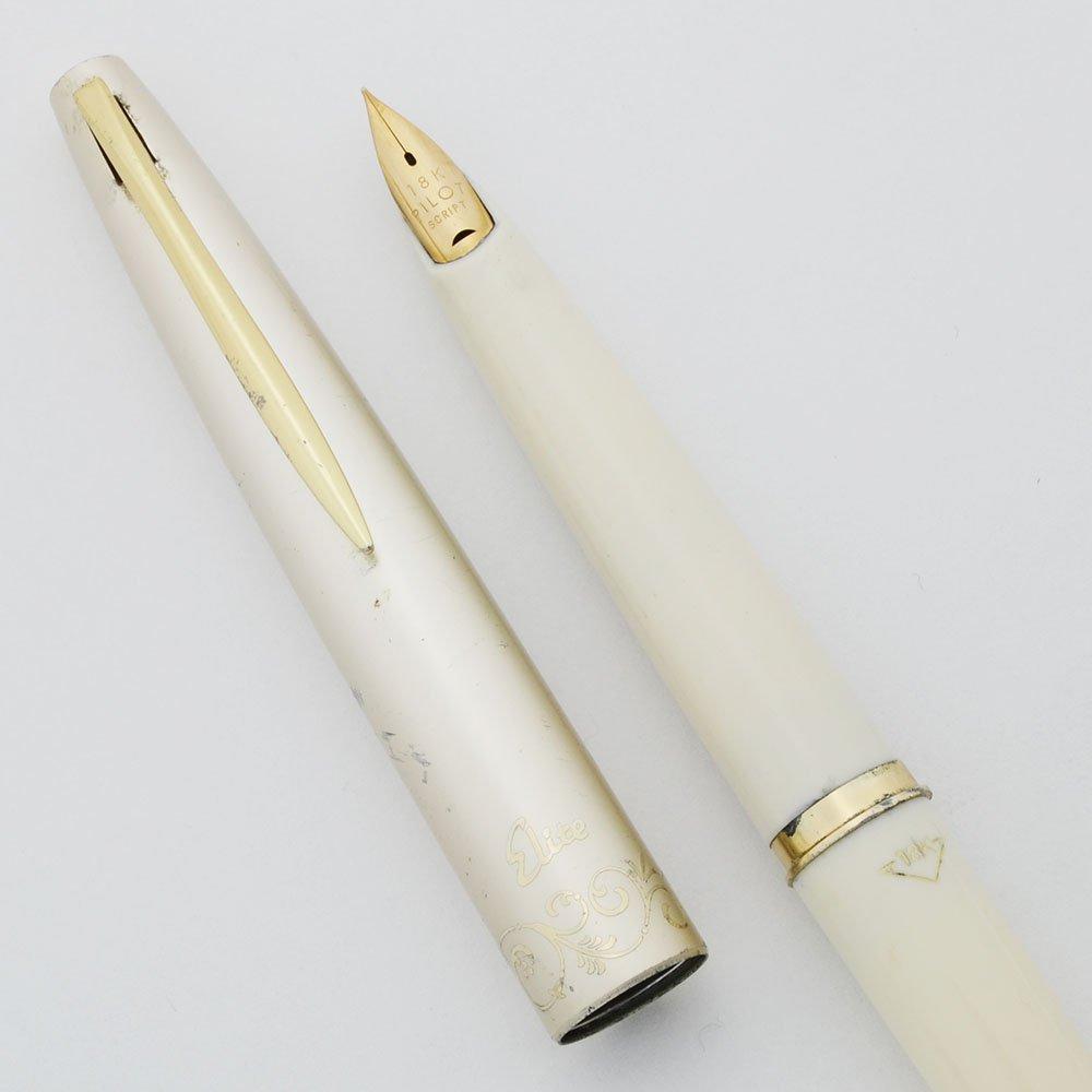 Pilot Elite Pocket Fountain Pen (1960s) - Ivory & Pearl, 18k Extra Fine Nib  (Very Nice, Works Well)