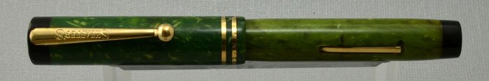 Sheaffer 5-30 Flat Top 1930 - Green with Black Ends, Junior Size