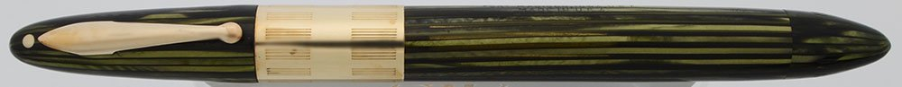 Sheaffer Triumph Fountain Pen - 1940s, Green Striated w Wide Band, Vac-Fil