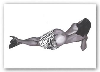 Zebra Girl 1 (Deja)  Art Print - Michael Bailey