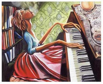 Uptown Piano Player Art Print - Nicole Folkes