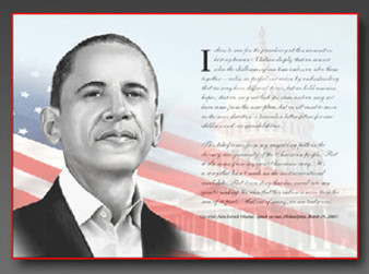 Obama - Philadelphia Speech Art Print - Tim Hinton