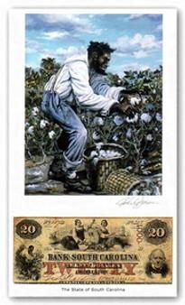 Color of Money - Slave Harvesting Cotton: South Carolina Art Print - John Jones
