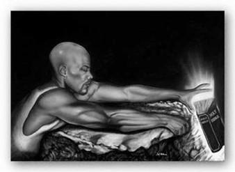 At The Edge - Male (Blk & White) Art Print - Fred Mathews