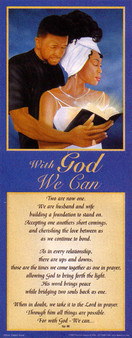 With God, We Can Statement (Blue 8 x 20) Art Print - Jamal Scott