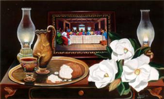The Last Supper  (White) Art Print - Hermon Woodall