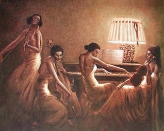 Sisters In Song Art Print - Hulis Mavruk