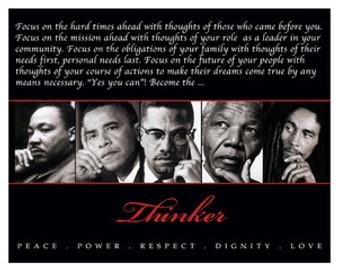 Thinker (Quintet): Peace, Power, Respect, Dignity, Love 8 x 10 Art Print