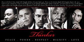 Thinker (Quintet): Peace, Power, Respect, Dignity, Love Art Print