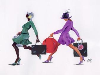 Power Shopping Canvas Art Ready To Hang 18 x 24 - Annie Lee