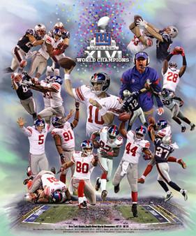 New York Giants Super Bowl 46 World Champions  Art Print - Wishum Gregory