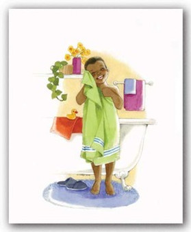 Bath Time Giggles  (mini)- Boy Art Print - Sylvia Walker