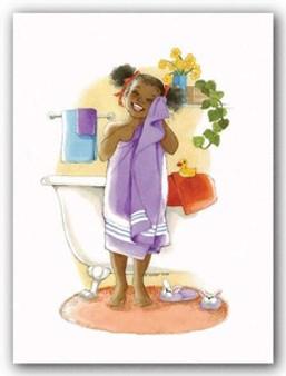 Bath Time Giggles (mini) - Girl Art Print - Sylvia Walker