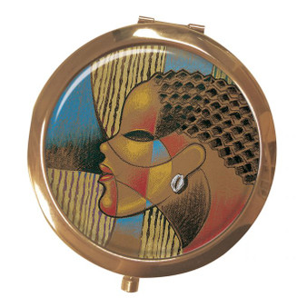 """Composite Of A Woman Magnifying Compact Mirrors--Larry """"Poncho"""" Brown"""