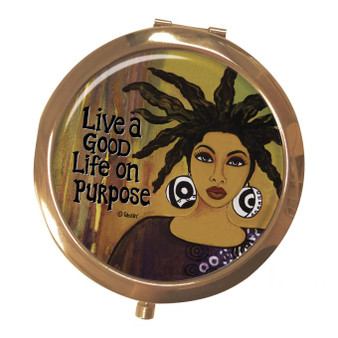 """Live A Good Life On Purpose Magnifying Compact Mirrors--Sylvia """"GBaby"""" Cohen"""