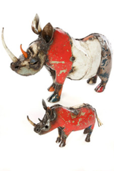 Colorful Recycled Oil Drum Rhino Sculptures--Large