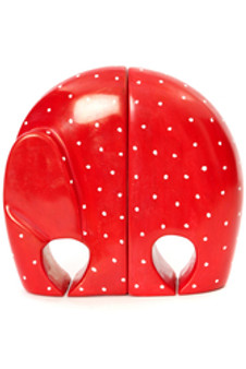 Red Polka Dot Soapstone Elephant Bookends