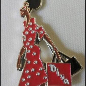 Red/White Devoted Greek Lady Diva Lapel Pin