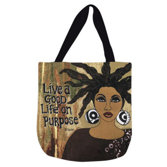 Live A Good Life On Purpose Woven Tote Bag --Gbaby