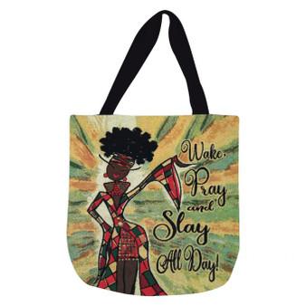 Wake Pray And Slay All Day Woven Tote Bags--Kiwi McDowell