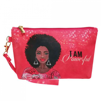 """I Am Powerful Cosmetic Pouch (DST) Cosmetic Pouch--Sylvia """"GBaby"""" Cohen"""