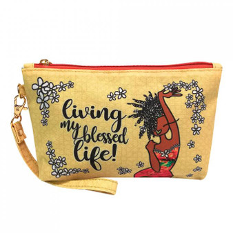 Living My Blessed Life Cosmetic Pouch-- Kiwi McDowell