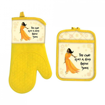 You Can't Keep A Good Sistah Down Oven Mitt Potholder Set-- Cidne Wallace