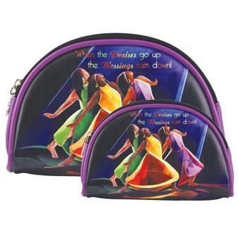 """Set of 2 Bags / Size: 9"""" x 6.5"""" x 1.5"""" and 7.5"""" x 5"""" x 1.5"""" / Metal zipper enclosure"""