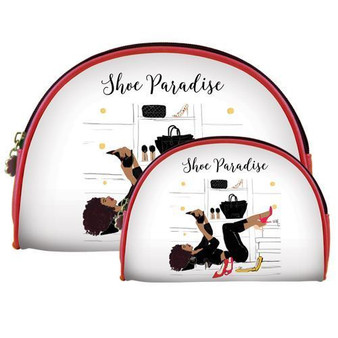 """Set of 2 Bags / Size: 9"""" x 6.5"""" x 1.5"""" and 7.5"""" x 5"""" x 1.5"""" / Metal zipper included"""