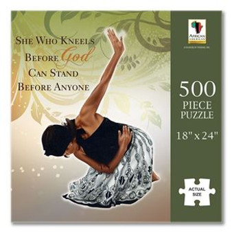 """She Who Kneels jigsaw puzzle featuring the popular She Who Kneels image. Our jigsaw puzzles will provide a challenging and rewarding experience and hours of family fun and entertainment. It looks great framed and will make a perfect gift.      500 piece puzzle     heavy gauge cardboard     finished size: 18"""" x 24"""""""