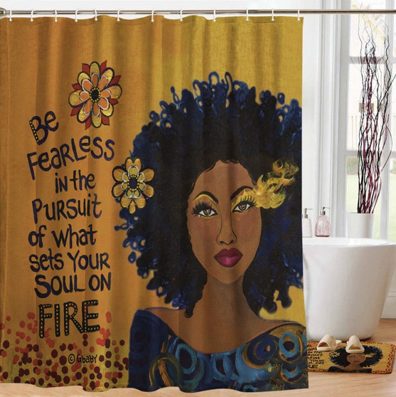 """Soul on Fire Designer Shower Curtain --Sylvia """"GBaby"""" Cohen"""