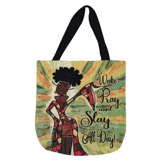 Wake Pray And Slay All Day Woven Tote Bags--Kiwi McDowell