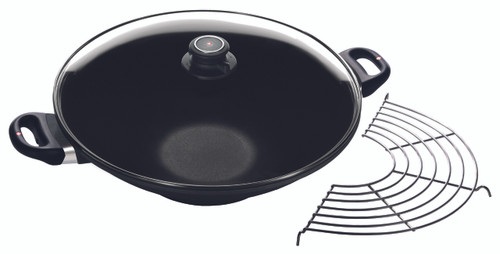 "XD Induction Wok with Lid with Lid and Tempura Rack 14"" (36cm) - Rack"