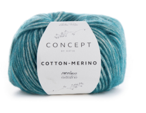 126 Green Blue Cotton Merino