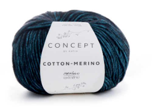 55 Black Turquoise Cotton Merino