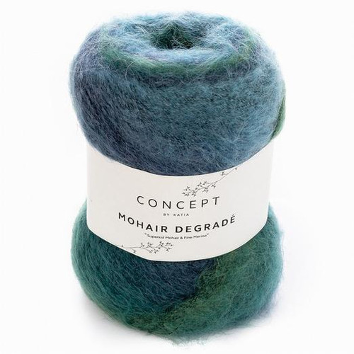 61 Green-Blue-Dark Blue Mohair Degrade