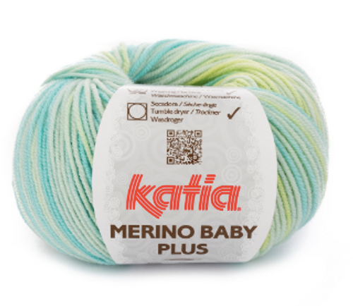 205 Green Blue-Lemon Yellow-Beige Merino Baby Plus