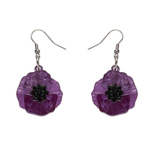 Erstwilder Poppy Field Drop Earings Purple