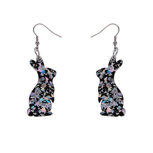 Erstwilder Bunny Chunky Glitter Resin Drop Earrings - Holographic Silver