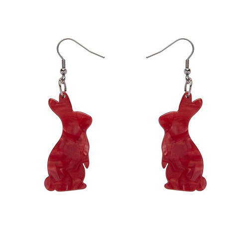 Bunny Textured Resin Drop Earrings - Red