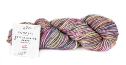 206 Lilac-Pistachio-Brown Cotton Merino Craft