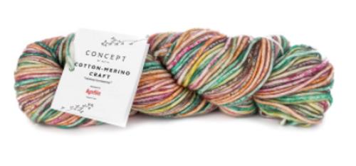 200 - Green-Yellow-Fuchsia Cotton Merino Craft