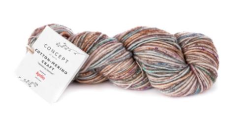 203 Brown-Lilac-turquoise Cotton Merino Craft