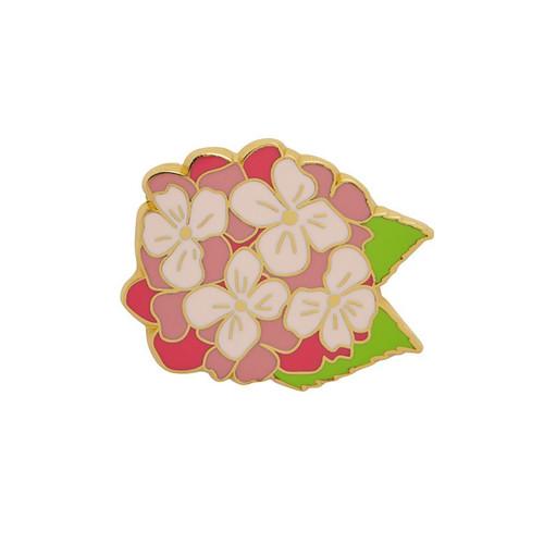 Heartfelt Hydrangea Enamel Pin Pink