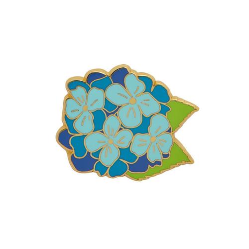 Heartfelt Hydrangea Enamel Pin Blue